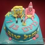עוגות לקטנטנים , עוגת יום הולדת לבנים , עוגת יום הולדת בוב ספוג, עוגות מעוצבות