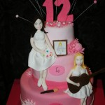 עוגת בת מצוה עם גיטרה וציור